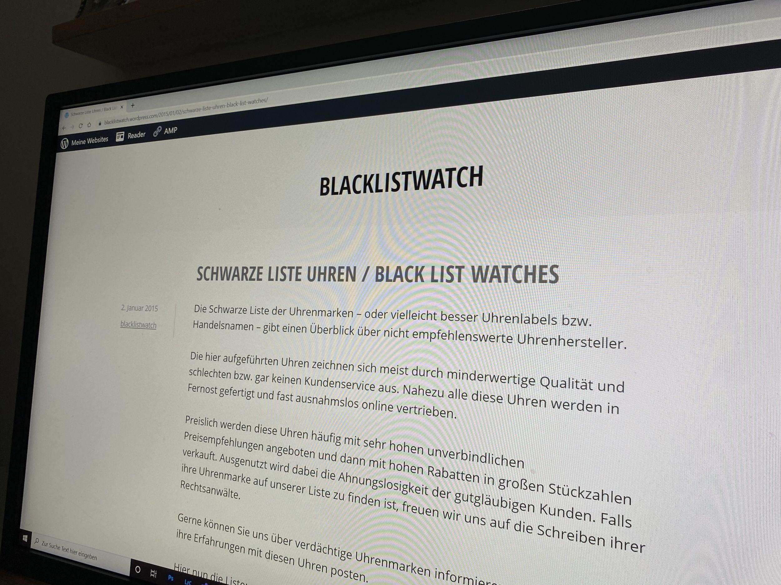 Schwarze Liste Uhren Black List Watches